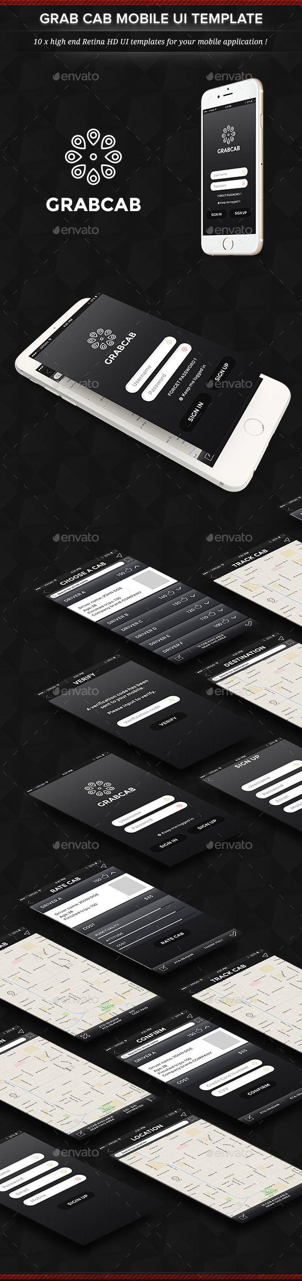 Grab Cab Mobile App User Interface Set