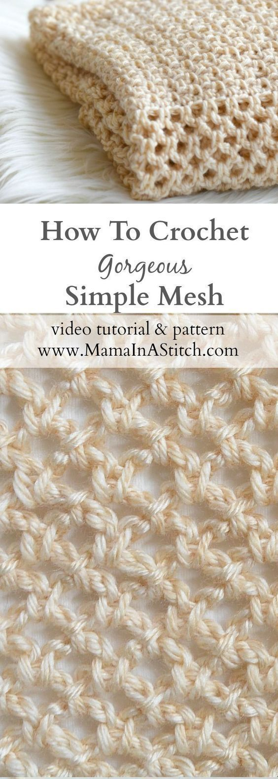 How To Crochet An Easy Mesh Stitch via @MamaInAStitch This is a modern mesh stitch works up beautifully and is so easy to make! Free pattern and tutorial. #easycrochet #crochetstitches