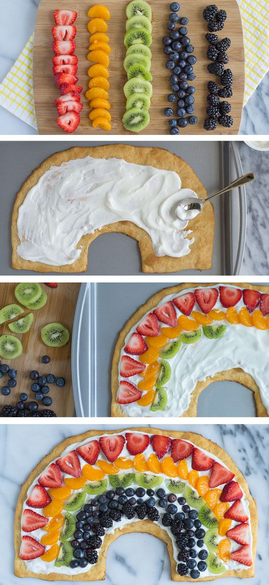 Rainbow Fruit Pizza. Use crescent roll dough for the crust and cut into the shape of a rainbow! So cute for St. Patrick's day or a party. #rainbow #dessert #stpatricksday
