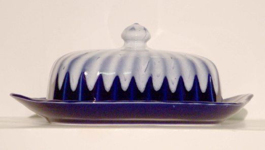 Pottery butter dish in cobalt blue with white glaze top .craftsman ...