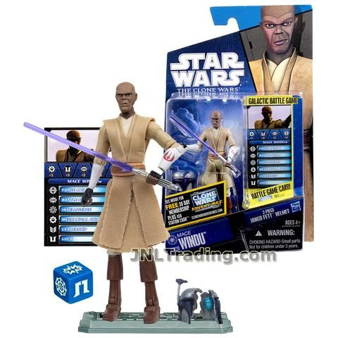 Star Wars Year 2010 Galactic Battle Game The Clone Wars Series 4 Inch Tall Figure - MACE WINDU CW20 with Lightsaber, Jango's Broken Helmet, Battle Game Card, Die and Display Base