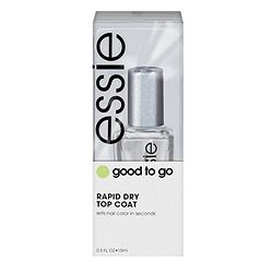 Essie >> Good to Go - Rapid Drying Top Coat. Idk what they put in this stuff but it is simply a must have. Sets in under a minute & u are literally good to go. The top coat  hardens so u will avoid any accidental lines or chips. Best part of all is the top coat stays SHINY. Save urself from waiting for paint to dry. (( ♥s it ))