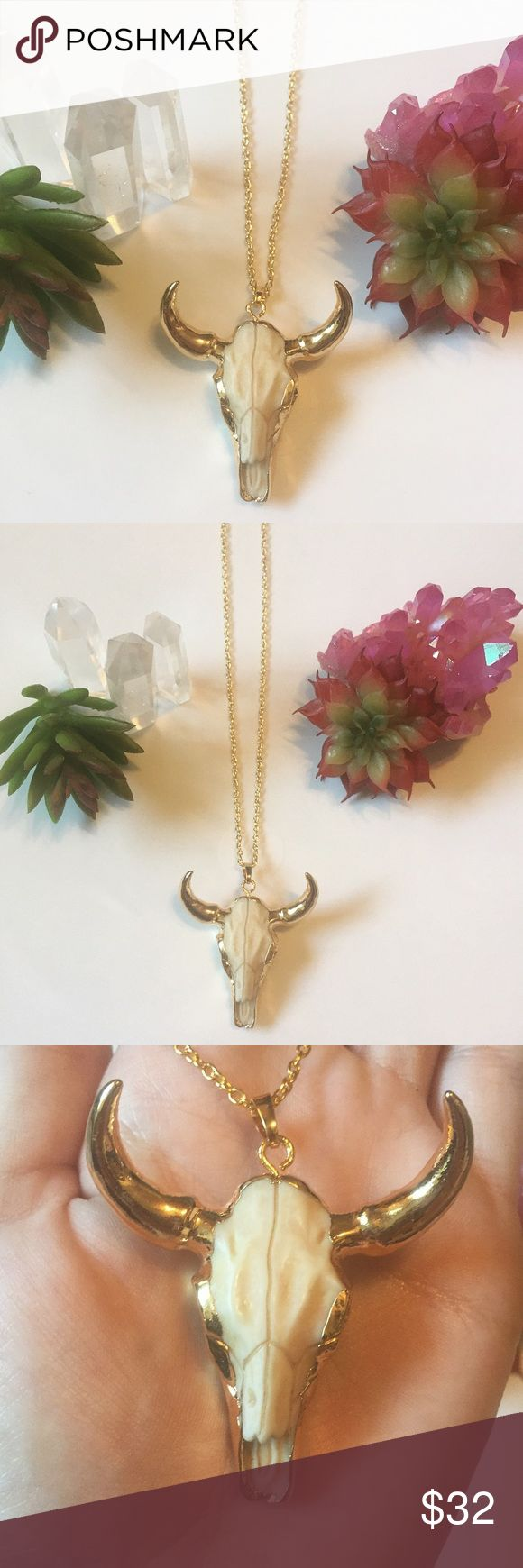 Bison skull gold necklace Bison skull gold necklace made from white resin and 24k gold electroform. Such an awesome piece with so much detail in the skull. Comes on an 18 inch gold chain. Note: the chain is not real gold plated so it needs to be handled carefully and kept away from water. Chain is a lead and nickel free metal alloy. Pendant can easily be removed from the existing chain and put on your own chains if longer lengths are desired. 2 available! Boho gypsy bohemian cow horn bull…
