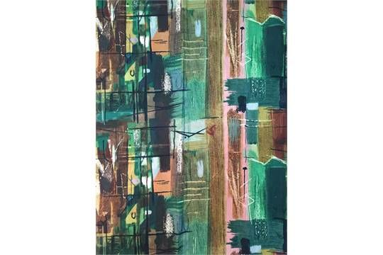 John Piper For Sanderson Fabrics Ltd, 'Stones Of Bath', a pair of curtains, Circa 1962 , the scre