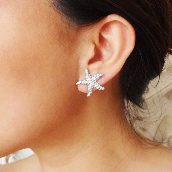 Petite Bridal Starfish Earrings Crystal Starfish by luxedeluxe