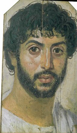 Fayum mummy portrait, Roman Egypt.