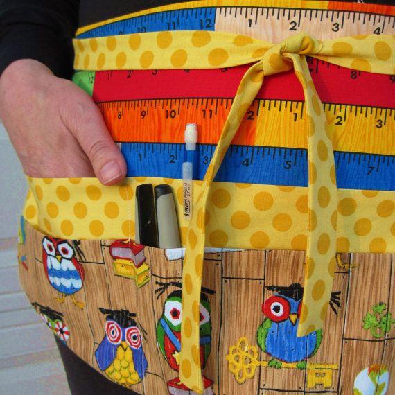 teachers apron | Owl Teacher Apron, 70's Owls on Woodgrain with Multicolored Rulers ...