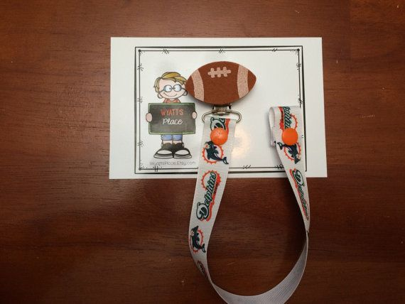 Dolphins Pacifier Clip NFL Pacifier Clip by WyattsPlace on Etsy