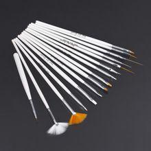 15 pcs Decorações Da Arte Do Prego Jogo de Escova Ferramentas de Pintura Profissional Pen para Unhas Falsas Dicas de Unhas de Gel UV Polonês alishoppbrasil