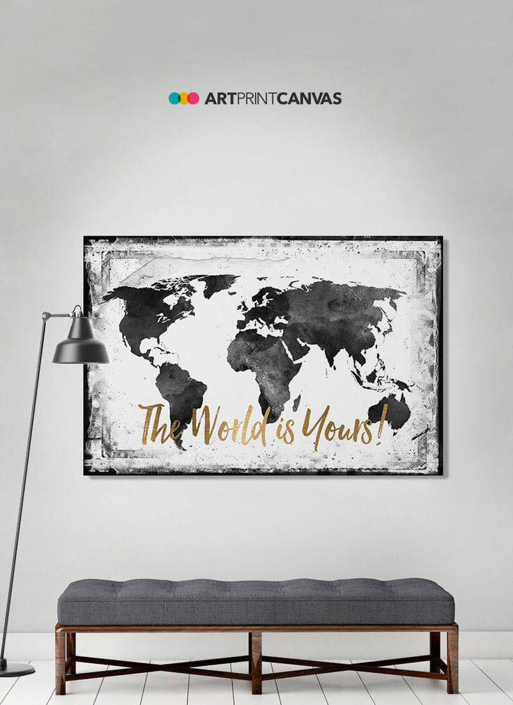 The 25 best watercolor map ideas on pinterest map of usa world map canvas art print travel map large world map black white gumiabroncs Image collections
