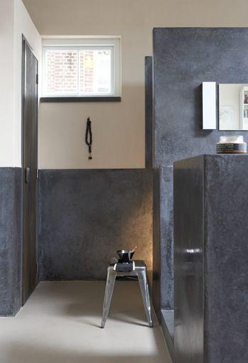 Betonstuc badkamer  www.betonlookdesign.nl  www.molitli.nl