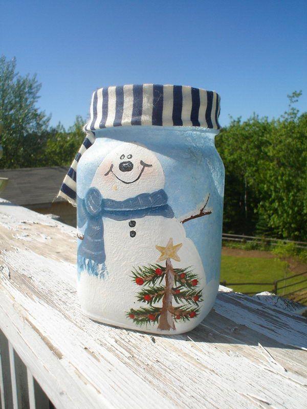 snow man candle holder 17 http://hative.com/cute-mason-jar-craft-ideas/