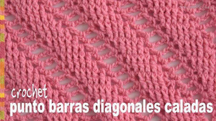 Punto barras caladas diagonales tejido a crochet (imitación 2 agujas) - Tejiendo Perú - YouTube