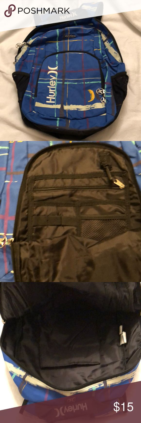 LIKE NEW! Hurley Surf backpack Hurley surf backpack- blue with white embroidery on the pocket and top handle. Lots of inside pockets as well as two side pockets. WORN ONCE on a trip.  Smoke free, pet free- ships in 24 hours Hurley Bags Backpacks