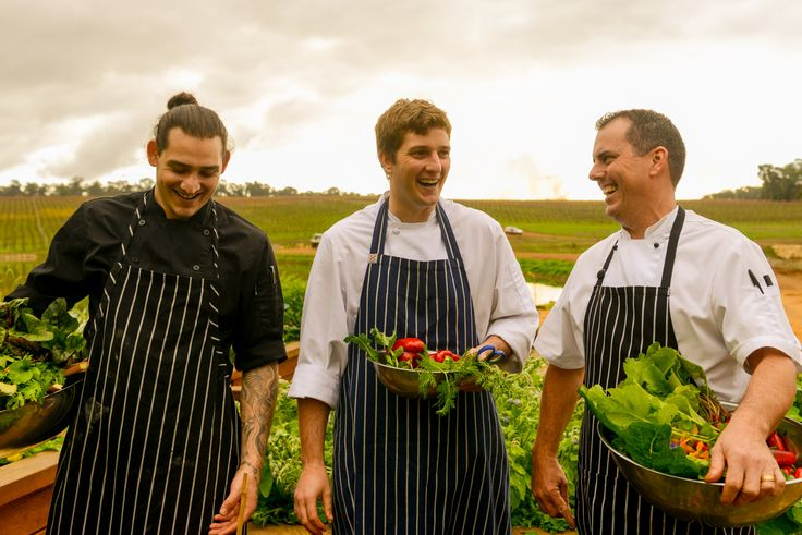 The Aravina kitchen team with the bounty of the on-site gardens, can't wait to see what they do it so much greenery!
