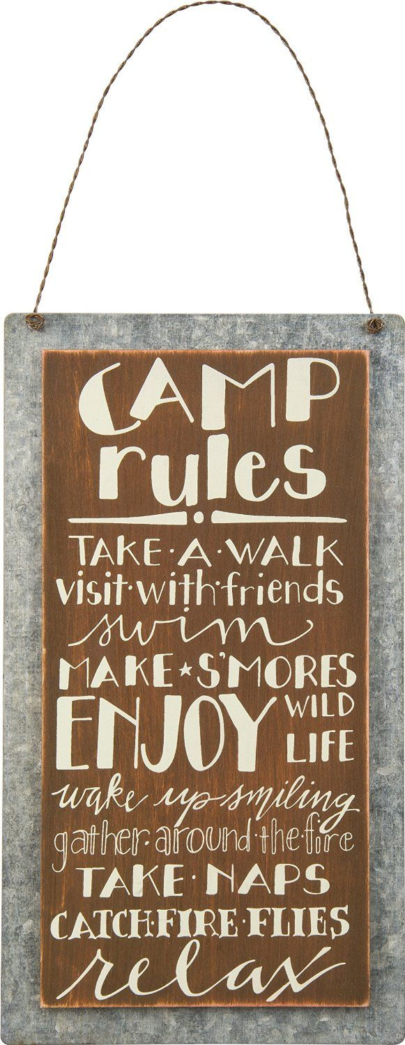 """AmazonSmile: Primitives By Kathy Sign, """"Camp Rules""""- Wood & Metal- 5.25"""" X 9.50"""": Home & Kitchen"""