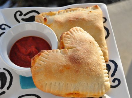 Heart shaped calzones for Valentine's Day dinner.