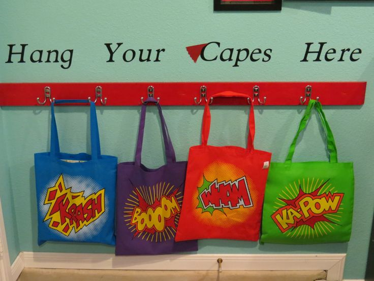 Superhero Classroom- cute to put where they hang their book bags.