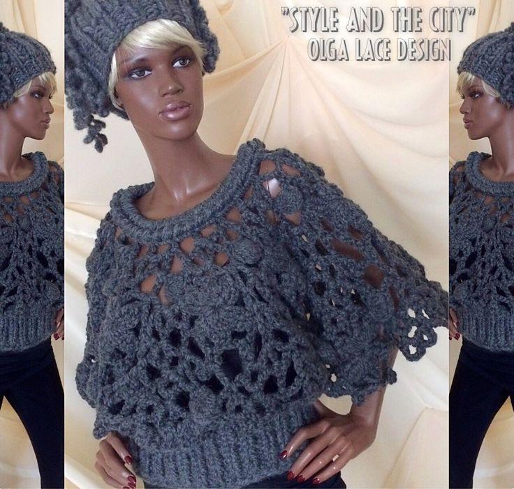 Купить Кружевной пуловер - пончо от Olga Lace - вязаный пуловер, пуловер - пончо, пончо, серый