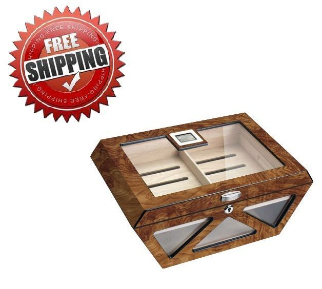 Visol Collin Matte Burlwood Glass Top Cigar Humidor - Holds 100 Cigars