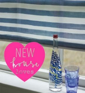NAUTICAL STRIPE is Melanie Darwin's navy blue, Bretton inspired, roller blind fabric...it's great to use big bold stripes at bathroom windows - even when they're tiny. Free fabric samples available from www.newhousetextiles.co.uk