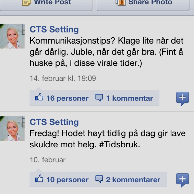 My Facebook-page: CTS Setting.