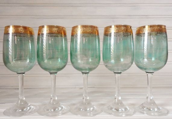 5 Vintage Green and Gold Glass Stemware on Etsy, $10.82 AUD