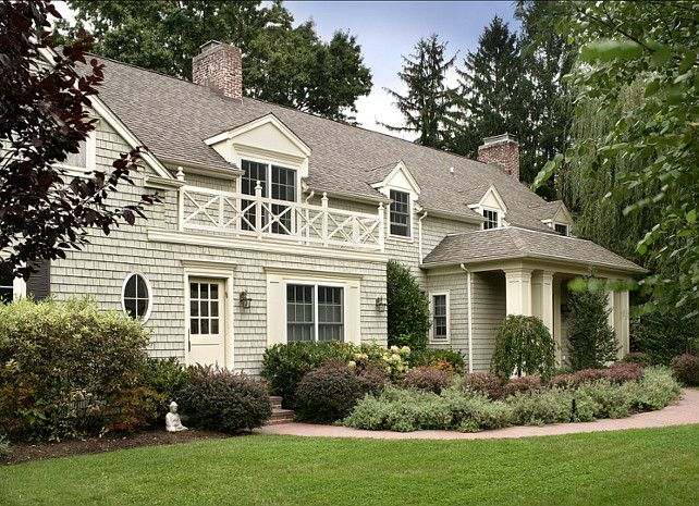 Landscape idea for a front yard makeover. Paint on house is Benjamin Moore HC-111 Nantucket Gray