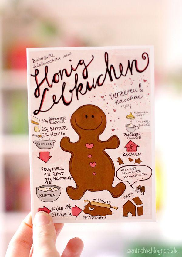 aentschies Blog: meine Weihnachtspostkarte - Sketchrecipe Honiglebkuchen