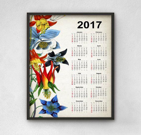 Botanical 2017 Calendar  Antique Botanical Art by QuantumPrints