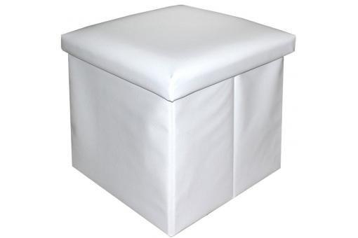Pouf blanc en similicuir Johara, deco design