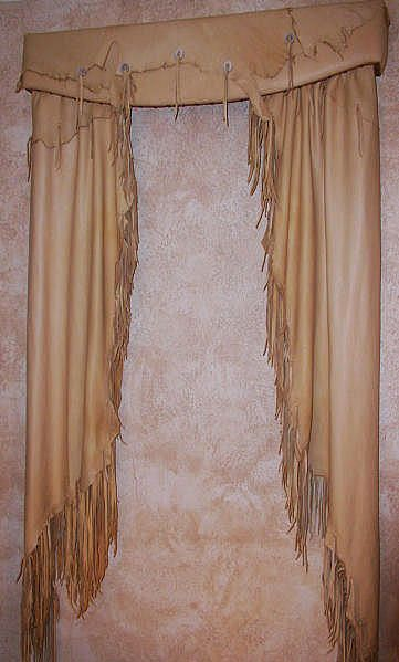Western Style fringed leather curtains and valance... OMG I need these!