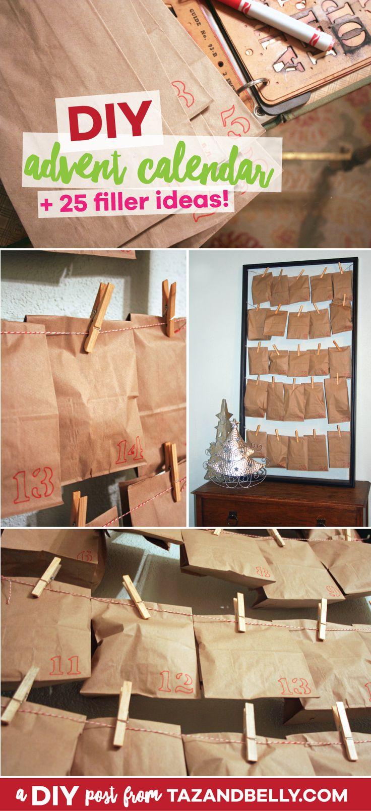 DIY Advent Calendar Tutorial + 25 Filler Ideas! | tazandbelly.com