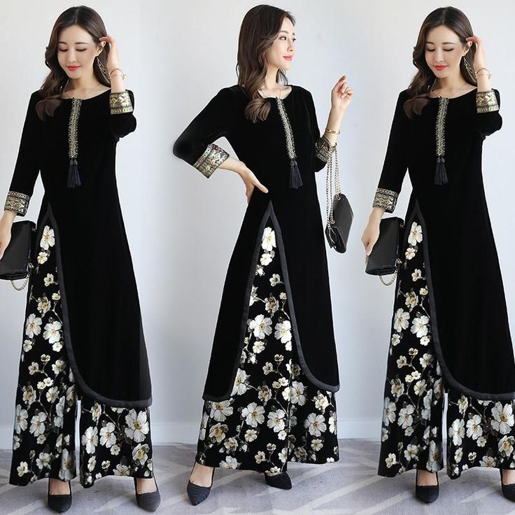 india Pakistan Women Clothing 2 pieces sets vintage pattern elegant costume 2