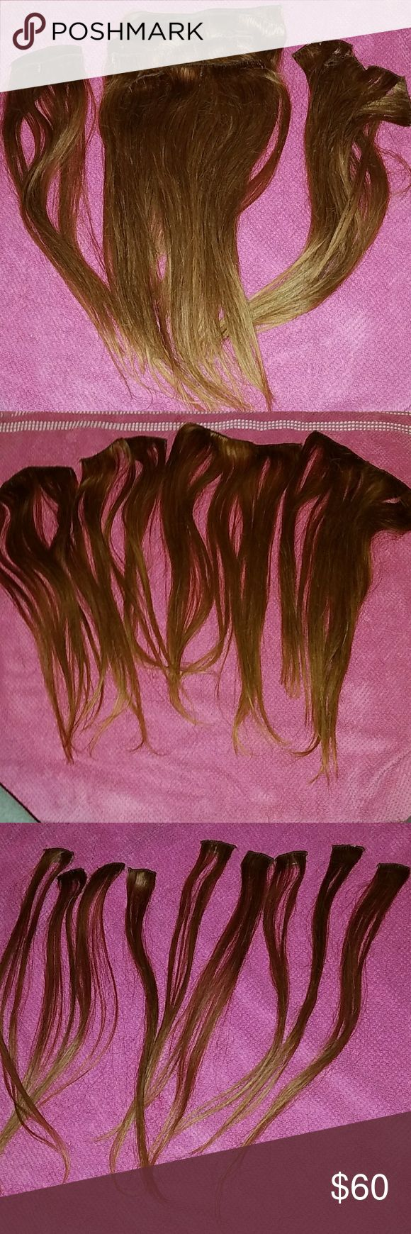 100% Clip In Human Hair Extensions WILL SHIP 2DAY! 2 SETS for full head,18 Inches,Color Light Golden Brown  (Way prettier in person!!) 15 Wefts (pieces) 9 single wefts w 1 clip,2 Wefts w 2 clips & 5 Wefts with 3 clips. These extensions had red tint so I cancelled out red w a golden brown.these r gorgeous & great deal! Wefts r full not thin at all.They have been shampooed, deep Conditioned,Salon oil treatment &  ironed ready to b shipped!!😀😍🤗 (The color does not look same as pics. Check…