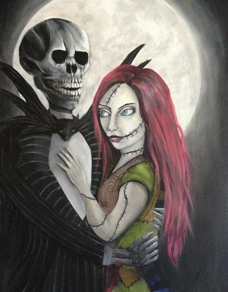 Jack and Sally Tim burton painting