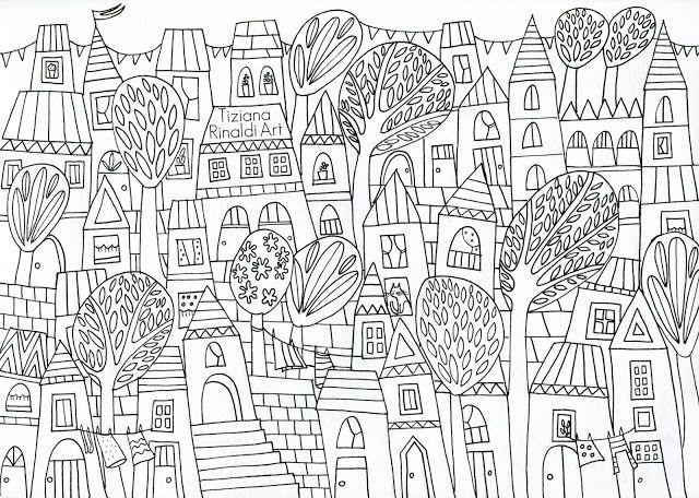 772 - The happy village - L'immagine da colorare a Marzo - by Tiziana Rinaldi
