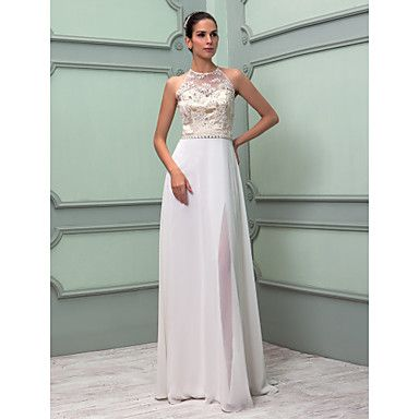 Sheath/Column High Neck Floor-length Chiffon And Lace Wedding Dress (699420) – USD $ 195.99-pretty and unique