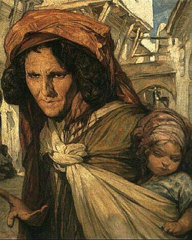 Peinture d'Algérie- Peintre Belge vanJules Van Biesbroeck(1873-1965), huile sur toile, Titre : mère et enfant.