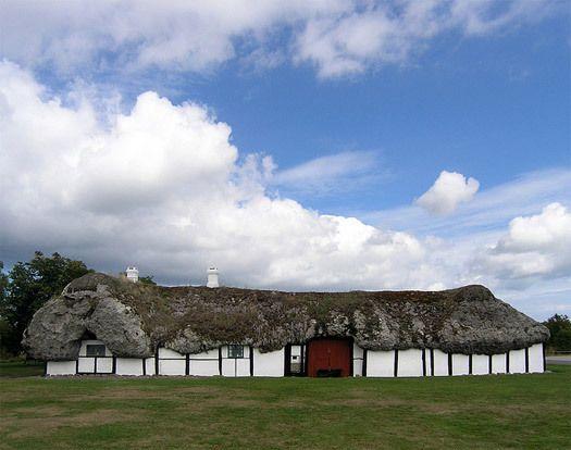 17th-century farmhouse with seaweed roof, Læsø, Denmark.