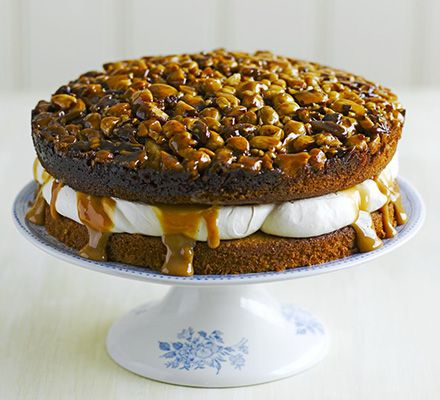 Utterly nutterly caramel layer cake... The toffee nut topping gives this sponge the edge- we used Brazil nuts, hazelnut, pecans and almonds