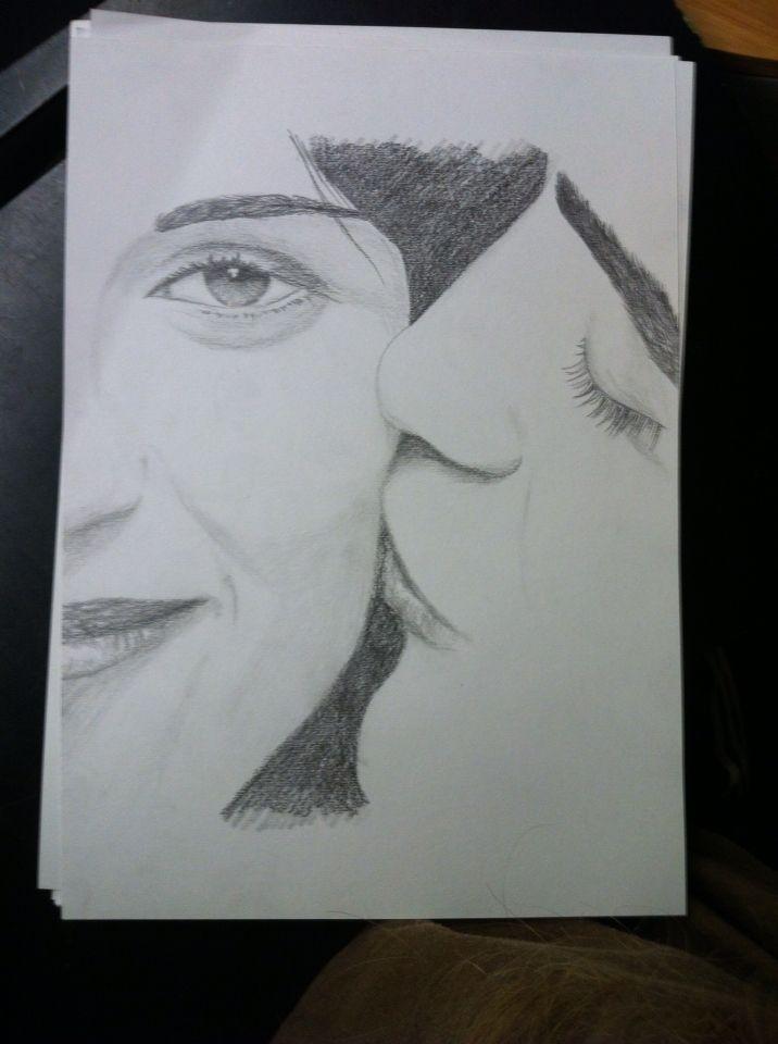 Kristen Stewart and Robert Pattinson /Bella and Edward  Drawing