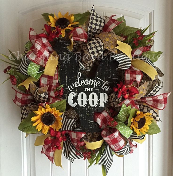 Welcome Wreath, Rooster Wreath, Welcome To The Coop, Kitchen Decor, Sunflower Wreath, Summer Wreath, Burlap Wreath, Rooster Decor by CharmingBarnBoutique on Etsy