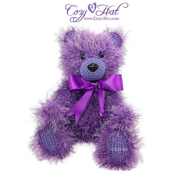 Classic Teddy Bear Stuffed Animal with Bow Hand Made by CozyHat