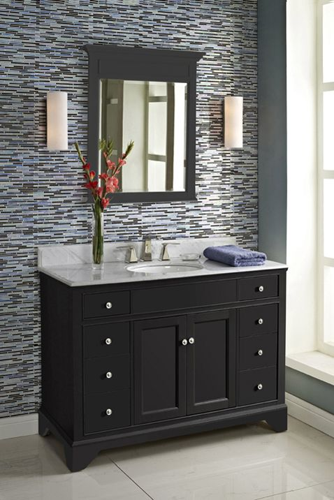 Awesome Websites Fairmont Designs Framingham Vanity Base with Opt Tops and Mirror in Obsidian Finish