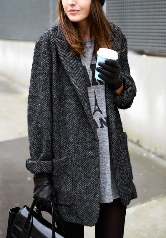 Dark grey tweed coat + coffee for the win