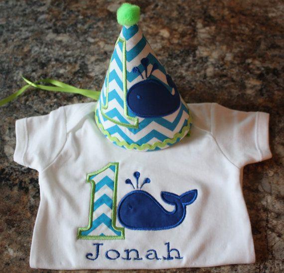 Boys First Birthday-boys 1st birthday- whale birthday party hat and M2M white onesie on Etsy, $36.00