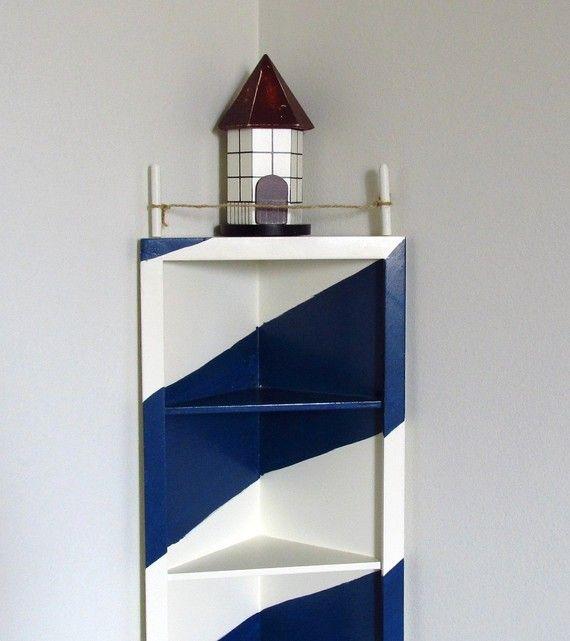 Lighthouse corner shelf nautical decor display coupon for Lighthouse bathroom ideas