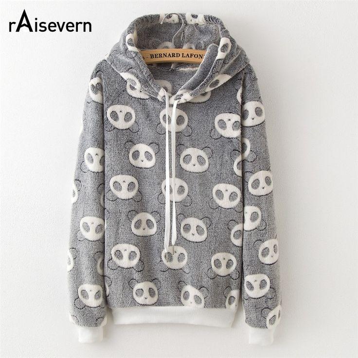 Raisevern Fashion Autumn Winter Long Sleeve Women Sweatshirt Harajuku Panda/Emoji/Stars Print Hooded Pullovers Dropship #Affiliate