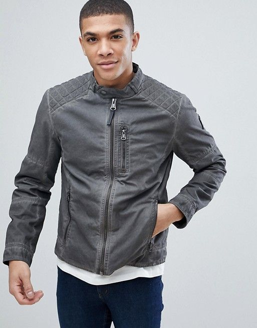 7d78b3a56 Tom Tailor Biker Jacket In Washed Cotton in 2019 | Mens athleisure ...